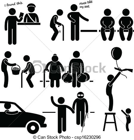 450x468 Kind Good Man Helping People. A Set Of Pictograms Representing A