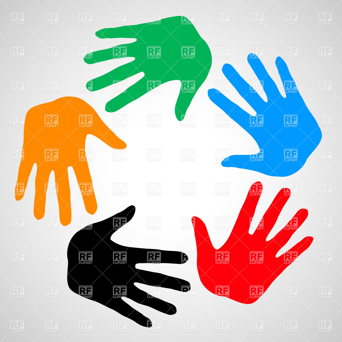 1200x1200 Colorful Hands As Symbol Friendship, Help And Support Vector Image