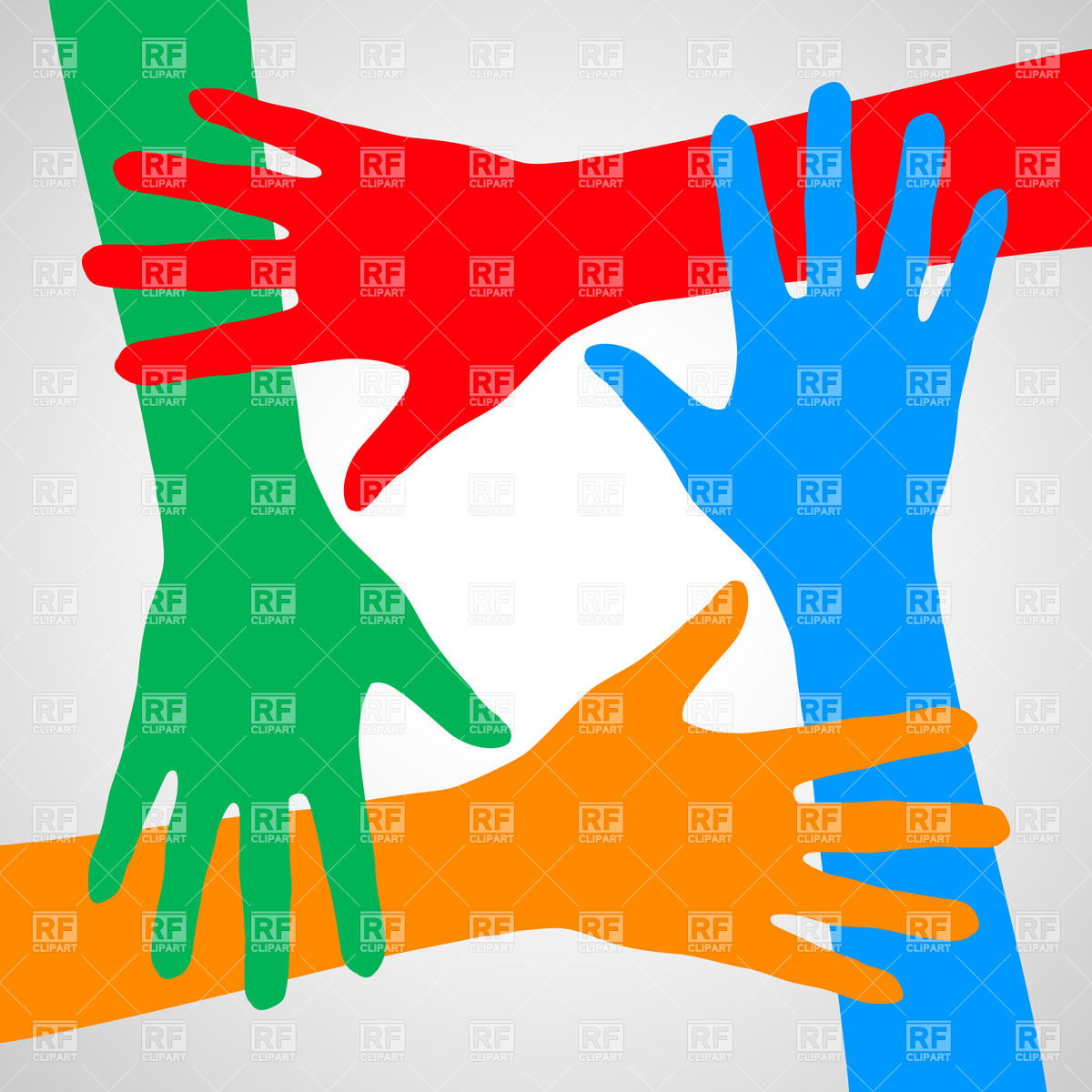 1200x1200 Colorful Hands Symbolizing Friendship, Help And Support Vector