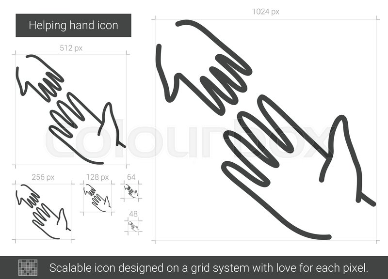 800x576 Helping Hand Vector Line Icon Isolated On White Background