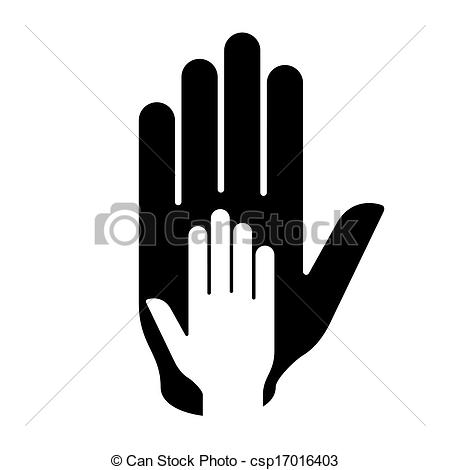 450x470 Helping Hand. Hand In Hand Illustration In Black And White. Help