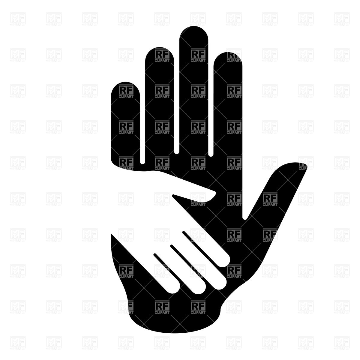 1200x1200 Black And White Illustration Of Helping Hand Vector Image Vector