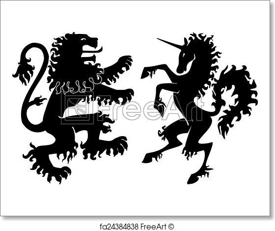560x470 Free Art Print Of Heraldic Lion And Unicorn Vector. Heraldic Lion