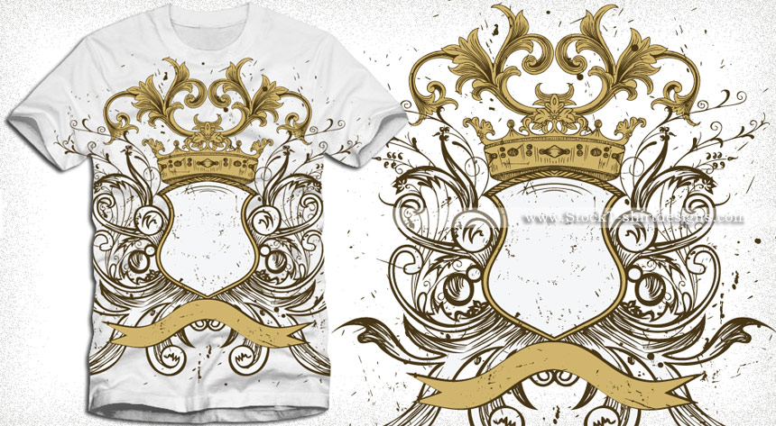 860x473 Heraldic Shield With Floral Ornaments And Crown Vector T Shirt
