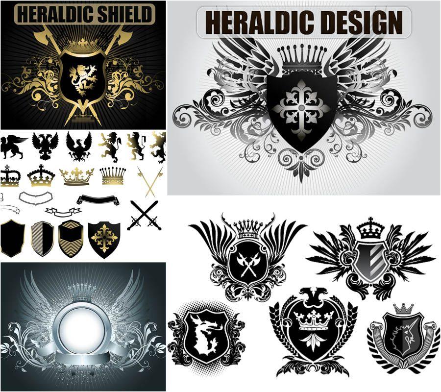 900x800 Heraldic Ornaments And Shields Vector Design An Stuff