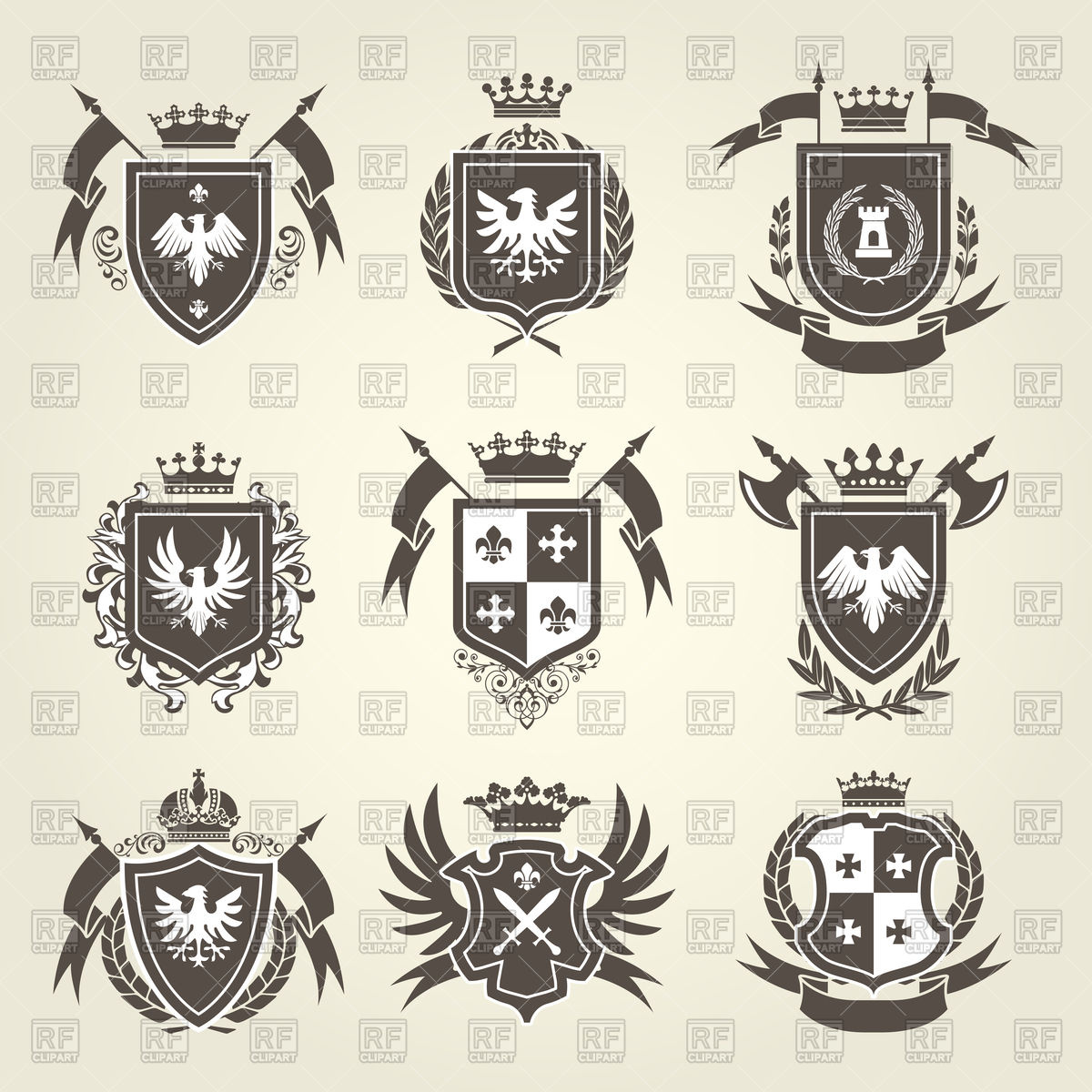 1200x1200 Medieval Royal Coat Of Arms And Knight Emblems