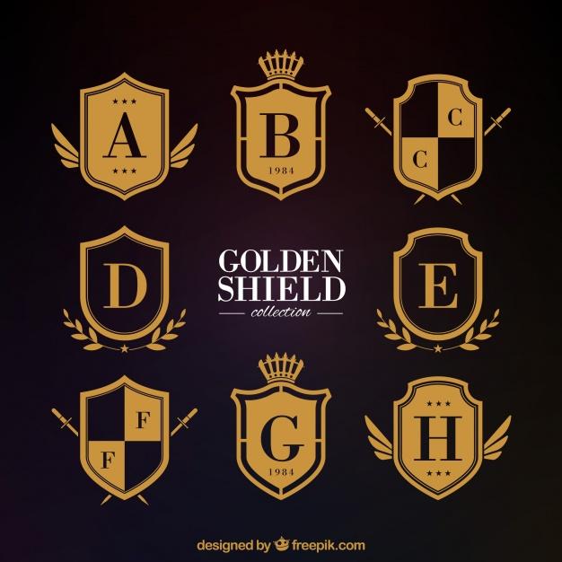 626x626 Classic Golden Heraldic Shields Vector Free Download