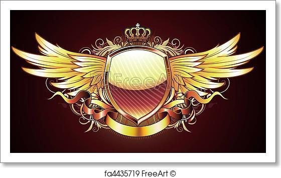 560x355 Free Art Print Of Golden Heraldic Shield . Vector Illustration Of