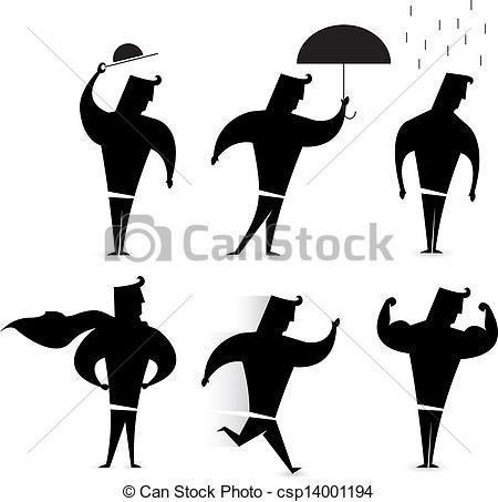 450x453 Gentleman Character Set Hero Silhouette Actions.