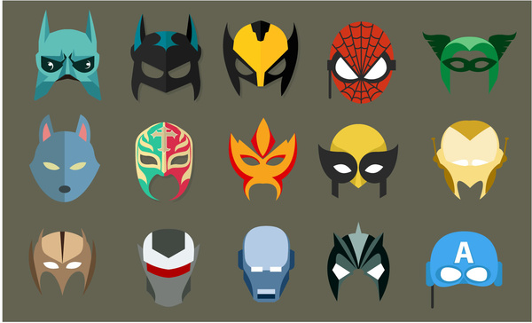 600x364 Super Hero Masks Vector Illustration In Flat Style Free Vector In
