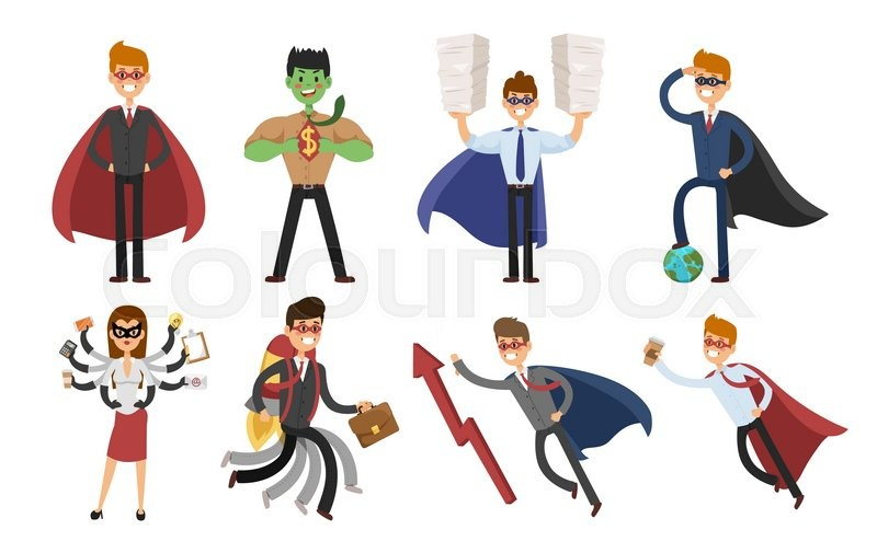 800x505 Superhero Business Man And Business Woman Vector Set. Super People
