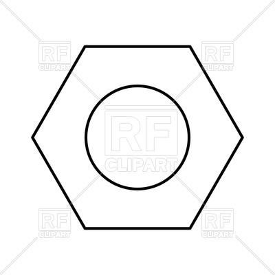 400x400 Hex Nut Black Color Icon Vector Image Vector Artwork Of Icons