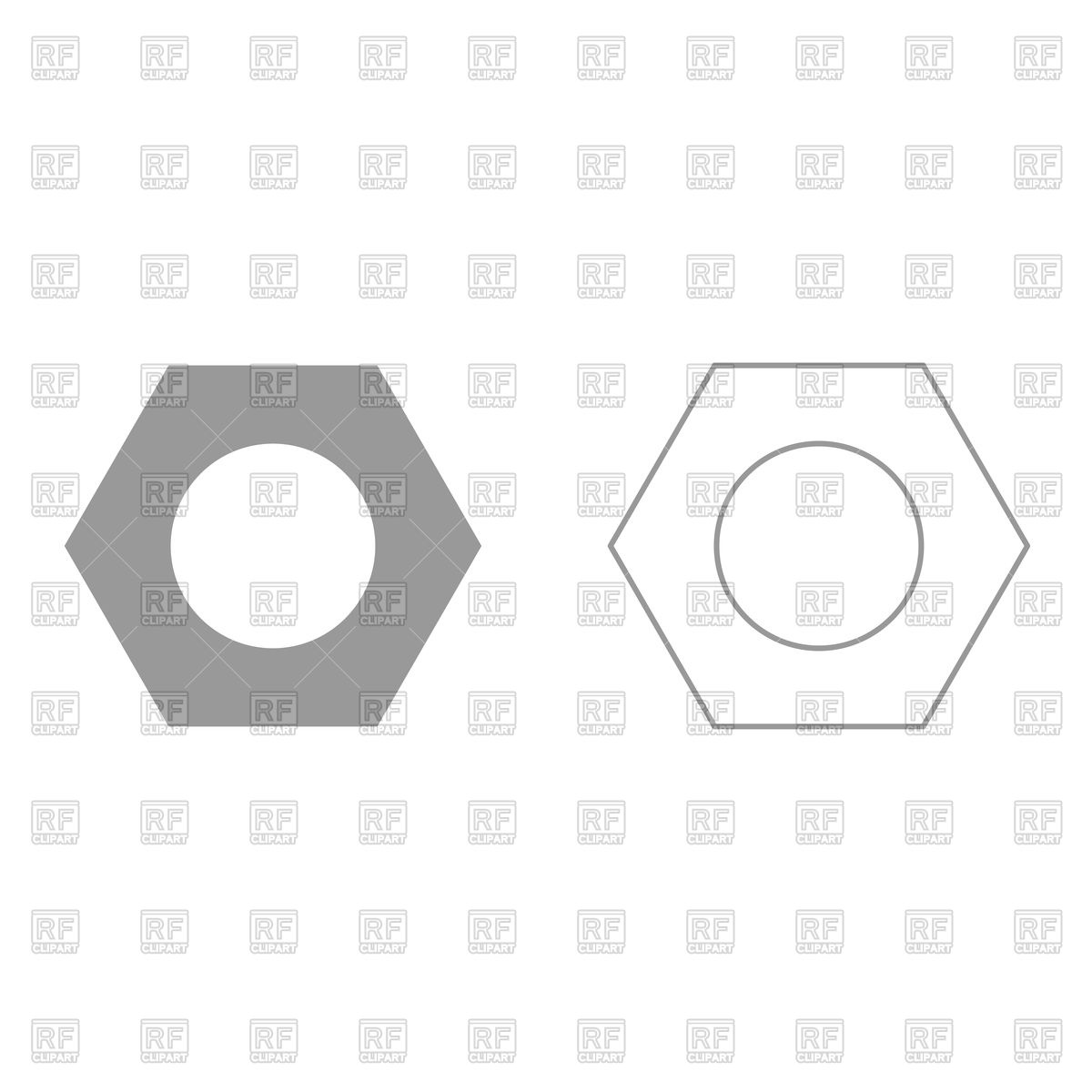 1200x1200 Hex Nut Grey Set Icon Vector Image Vector Artwork Of Icons And