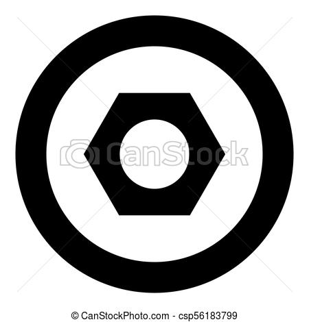 450x470 Hex Nut Icon Black Color In Circle Vector Illustration Isolated.