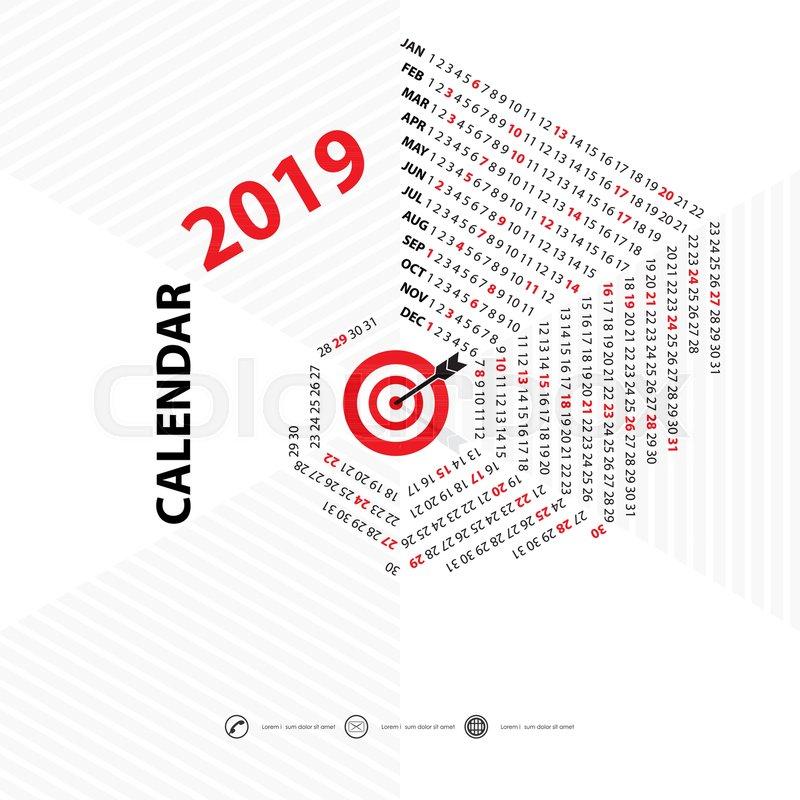800x800 2019 Calendar Template.hexagon Shape Calendar.calendar 2019 Set Of