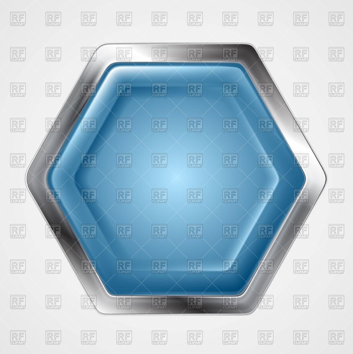 1197x1200 Blue Hexagonal Button With Metallic Border Vector Image Vector