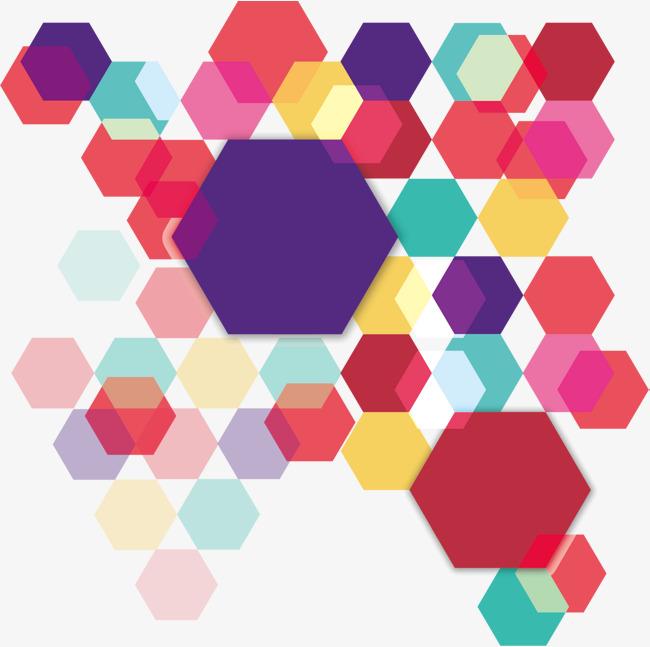 650x647 Color Overlapping Hexagon, Color Vector, Hexagon Vector, Vector