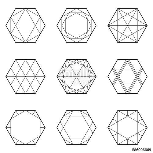 500x500 Set Of Geometric Elements, Line Design, Hexagon, Vector