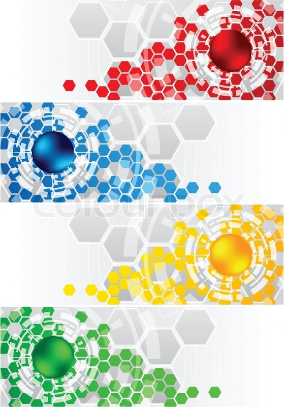559x800 Vector Set Of Banners With Hexagon Clip Art Stock Vector Colourbox