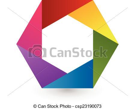 450x365 Abstract Rainbow Hexagon Shape Logo. Abstract Rainbow Hexagon