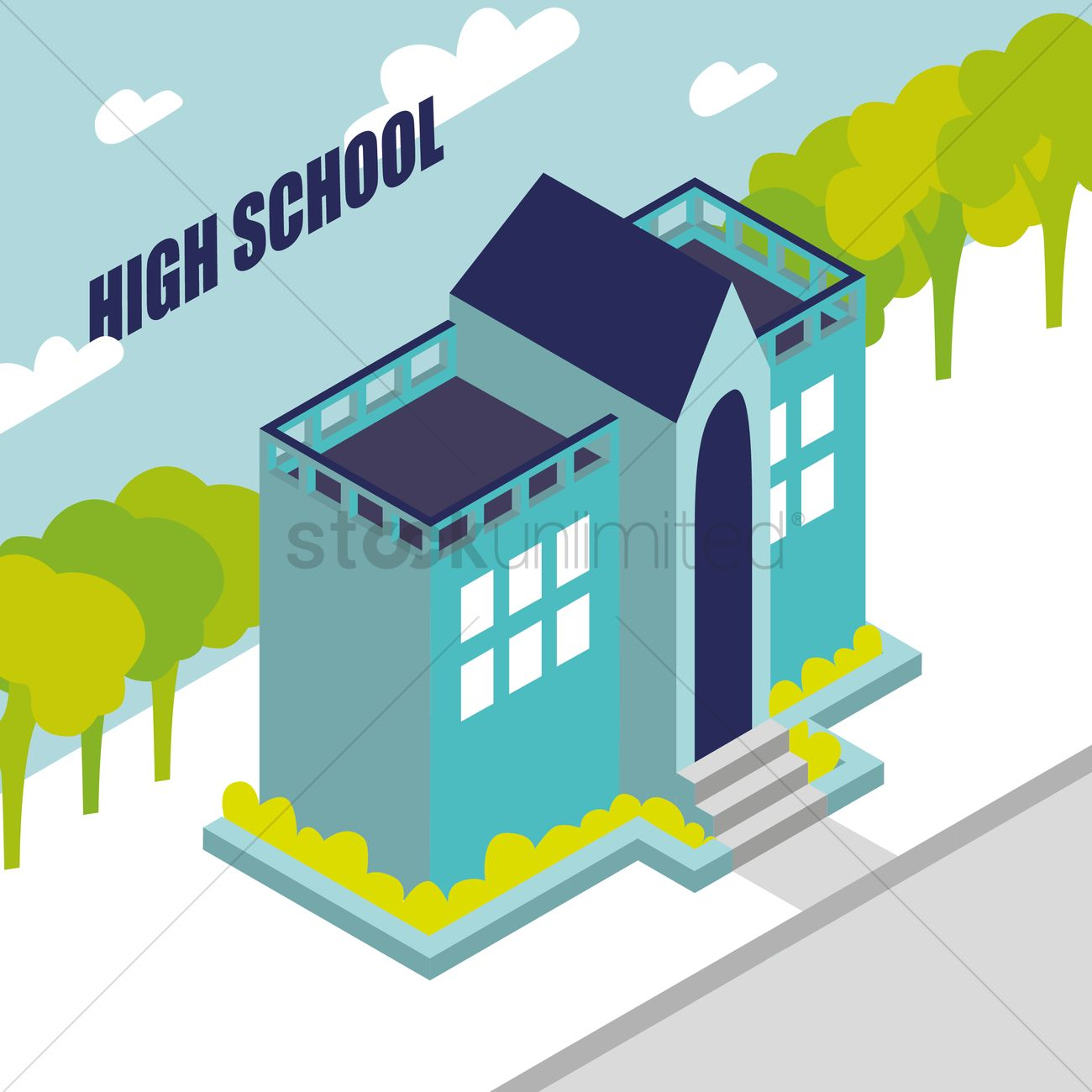 1300x1300 High School Vector Image