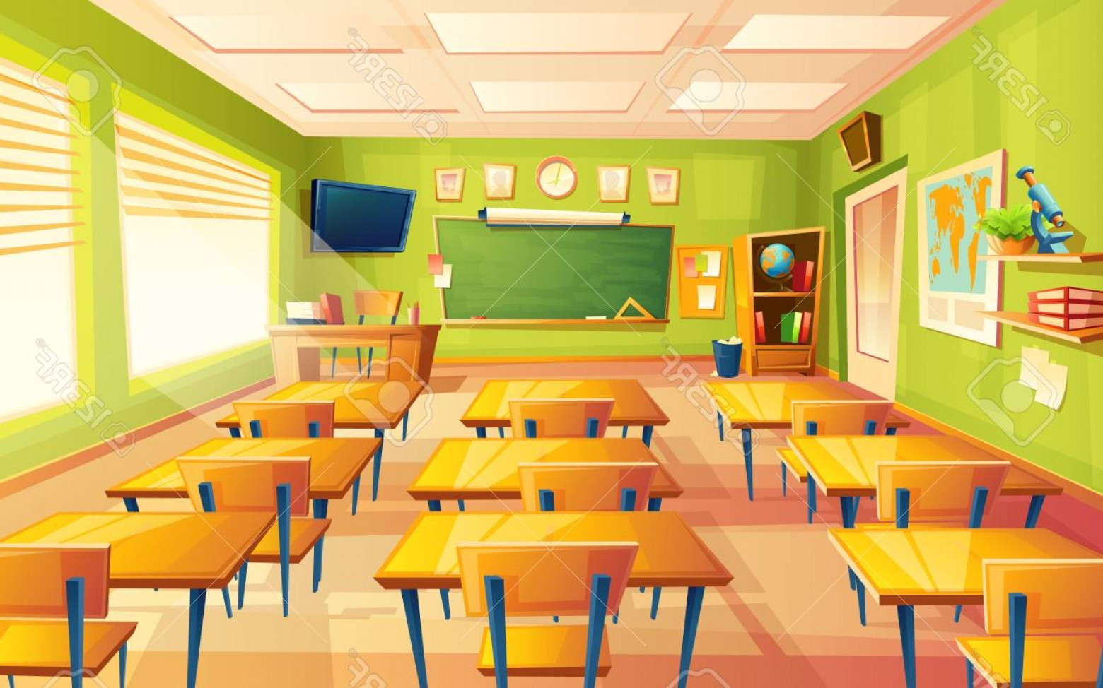 1560x974 Photostock Vector Vector Cartoon Empty Elementary Or High School