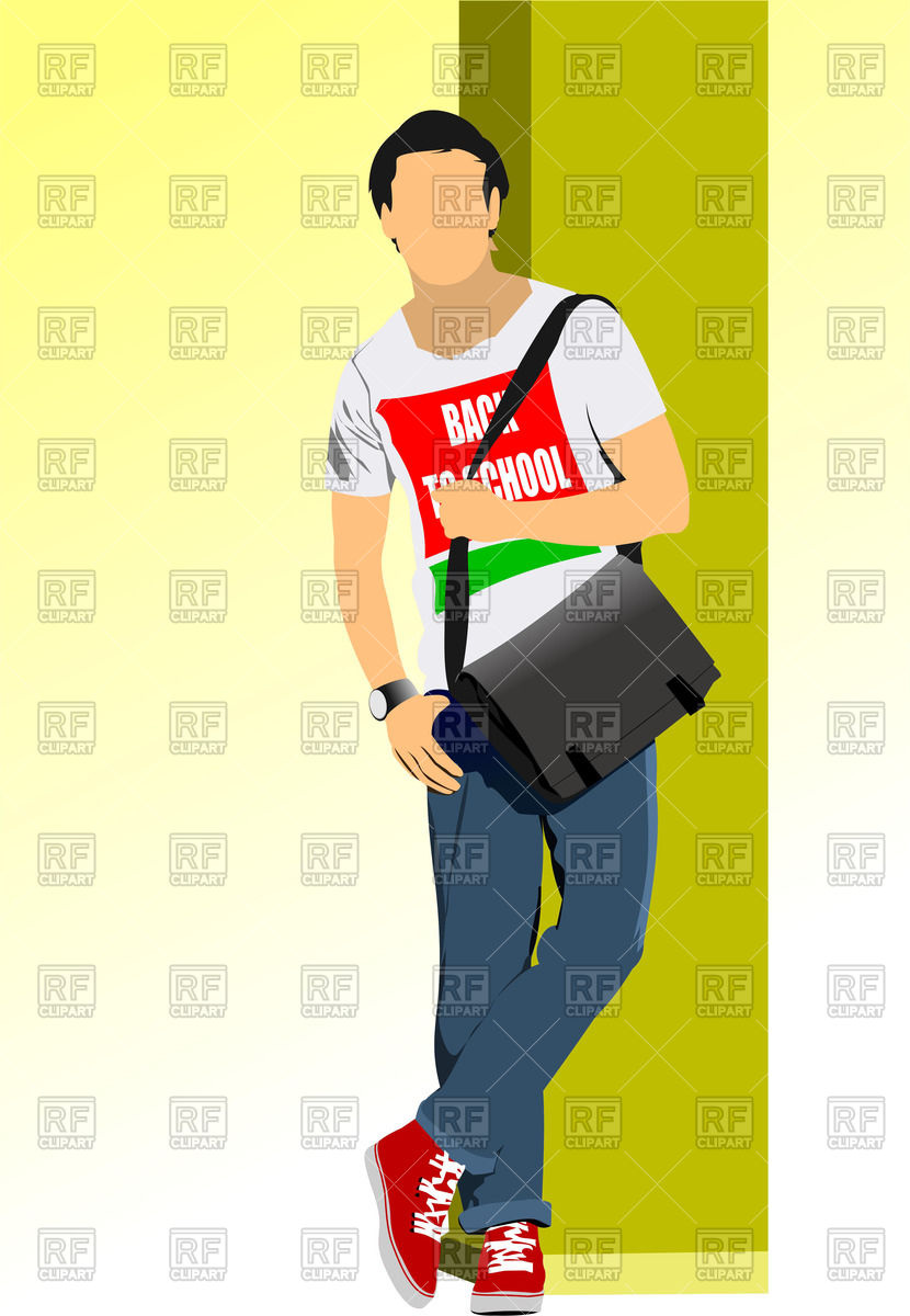 830x1200 Student From High School In T Shirt And Jeans, With A Bag Vector