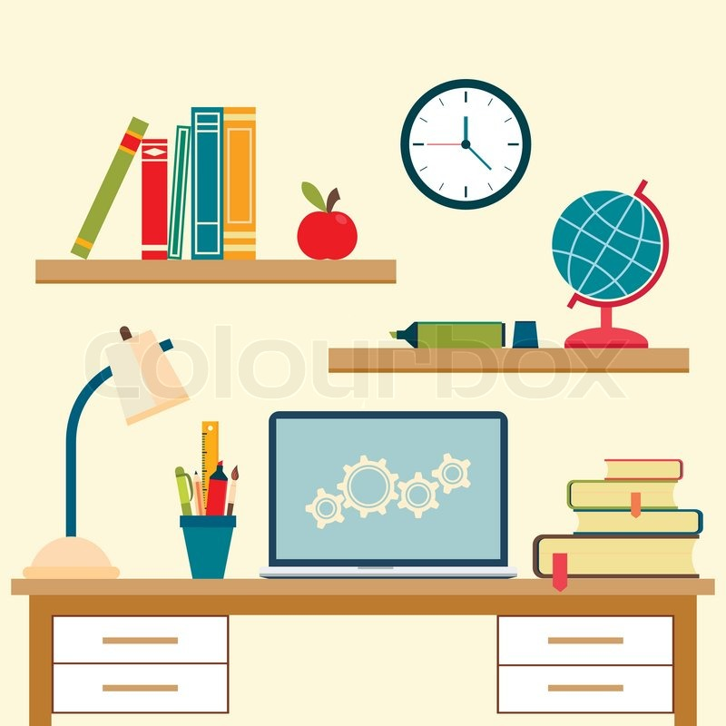 800x800 Vector Illustration Of Home Interior With Desktop And High School