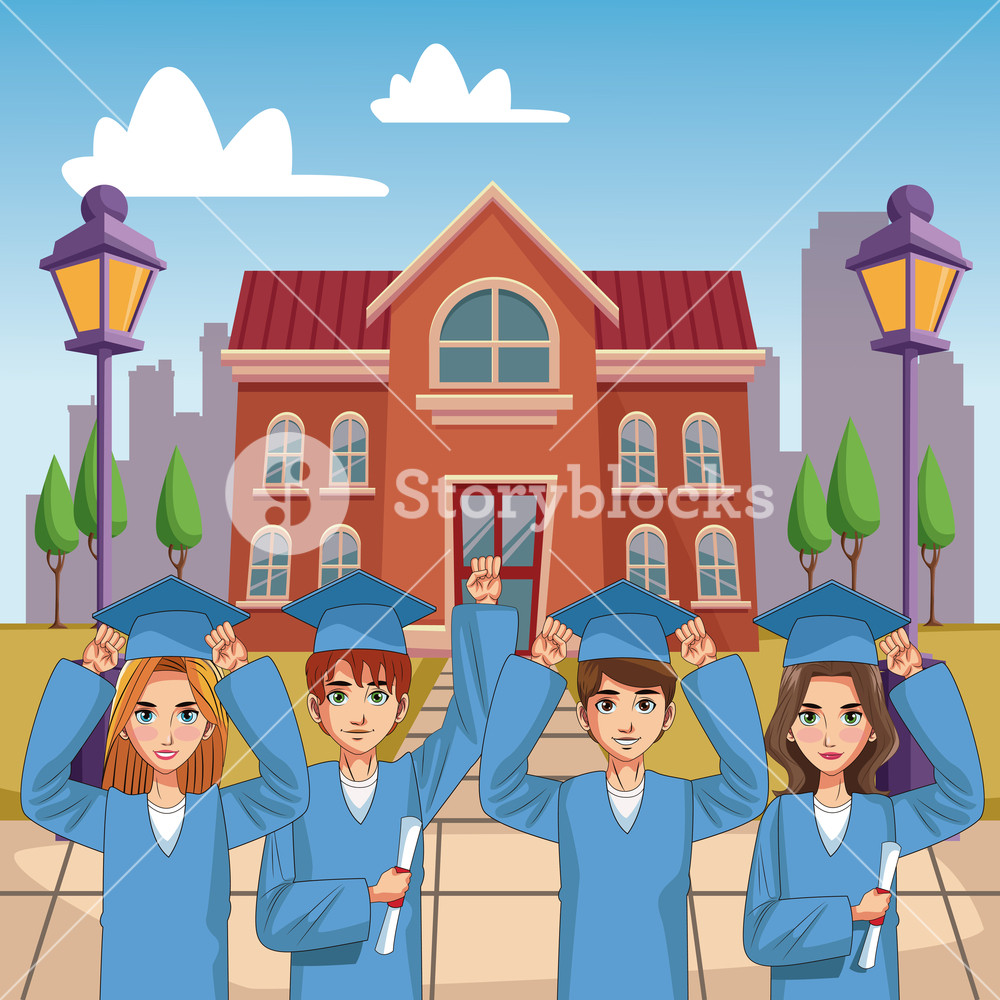 1000x1000 Young Students On High School Graduation Vector Illustration