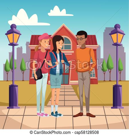 450x470 Young Students Outside Of High School Vector Illustration Graphic
