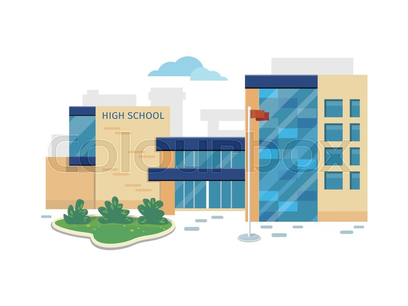 799x600 Best School Building Vector Illustration. Flat Design. Public
