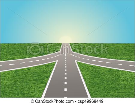 450x348 Intersection On Highway. The Illustration Of Road Junction On The