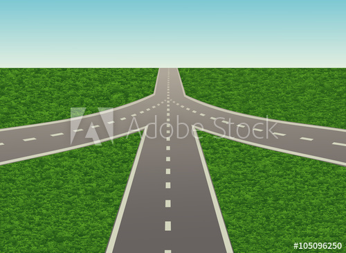 500x365 Road Junction On The Highway. Vector Illustration. Horizontal