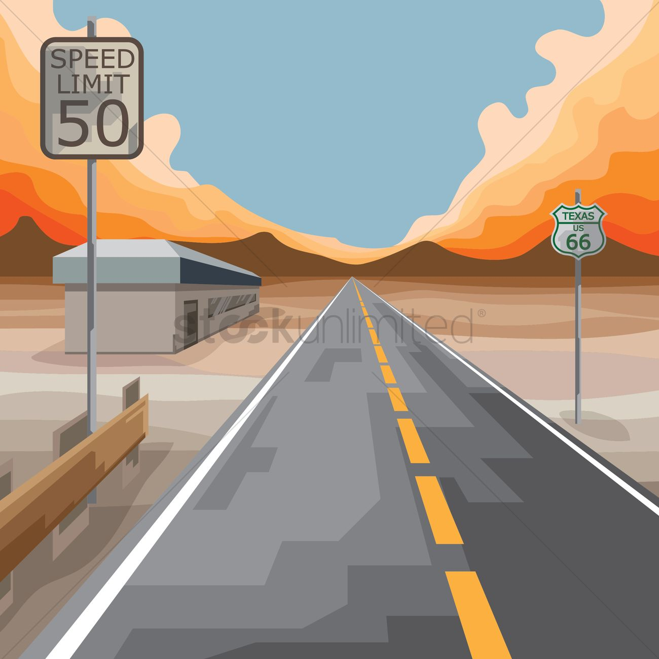 1300x1300 Free Usa Sign Board On Highway Vector Image
