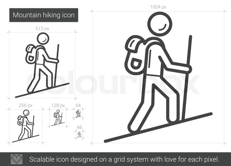800x576 Mountain Hiking Vector Line Icon Isolated On White Background