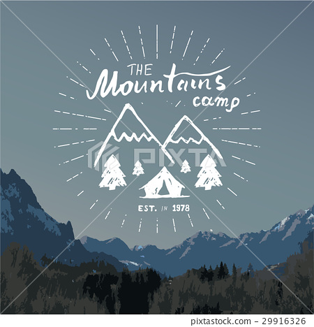 450x468 Mountains Vintage Label Camping And Hiking Vector