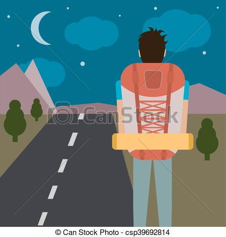 449x470 A Vector Illustration Of A Man Traveling And Hiking.