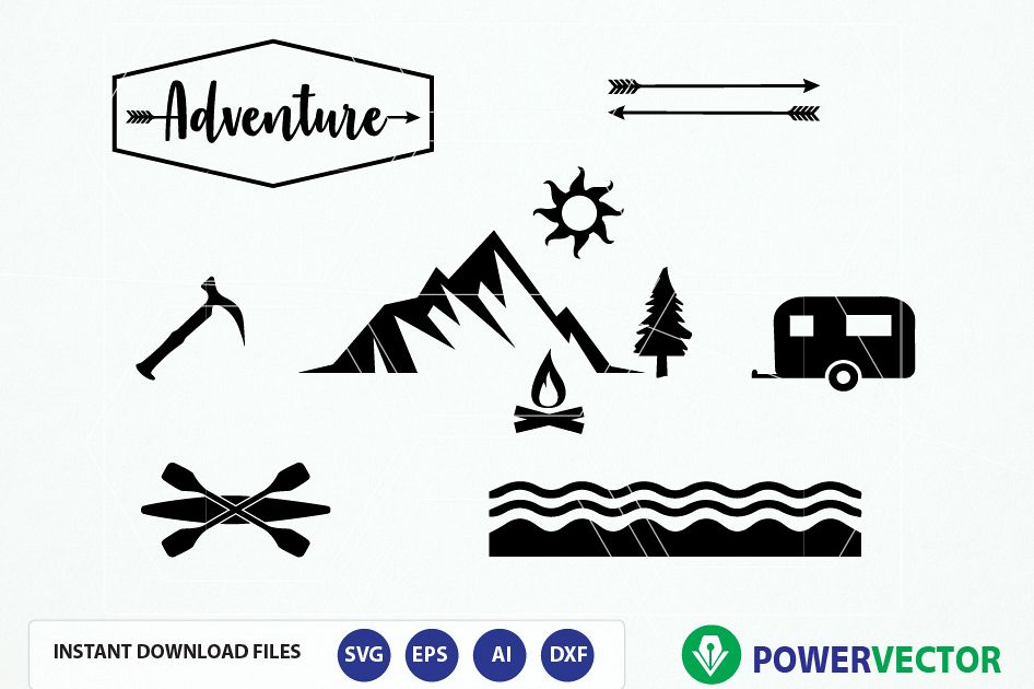 946x630 Adventure Clipart Svg, Eps, Dxf, Silhouette Studio. Camping
