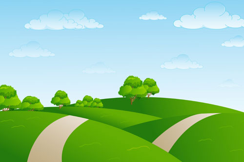 500x333 Hills And Clouds Landscape Vector