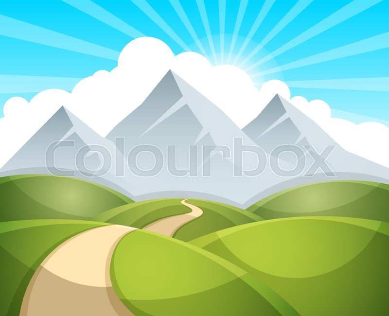 800x650 Cartoon Landscape Illustration. Sun. Cloud, Mountain Hill Vector