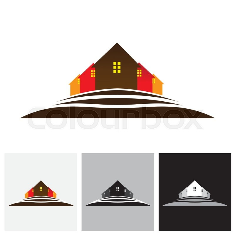 800x800 House ( Home ) Amp Residences On Hill Vector Logo Icon For Real