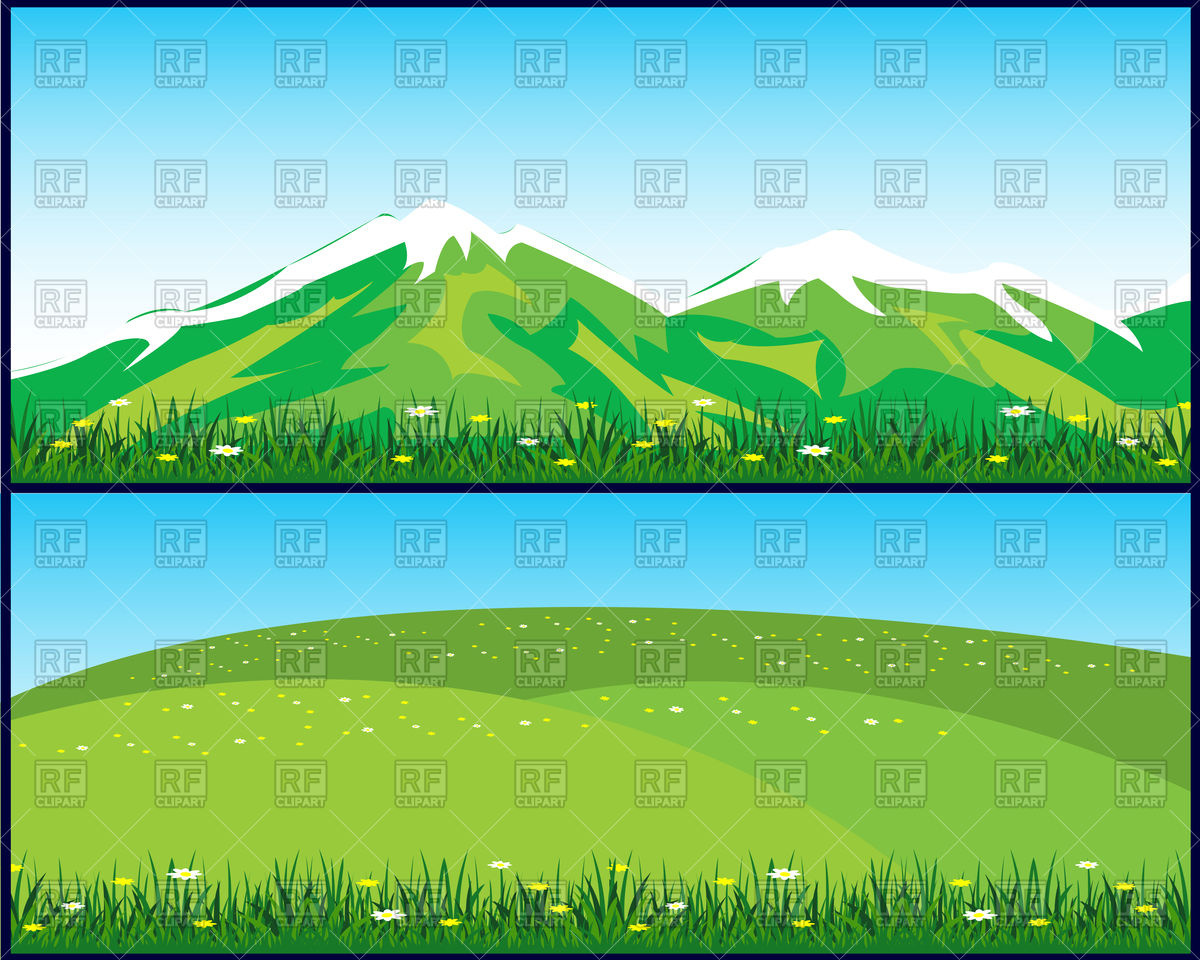 1200x960 Landscapes With Snow Covered Mountains And Green Hill Vector Image