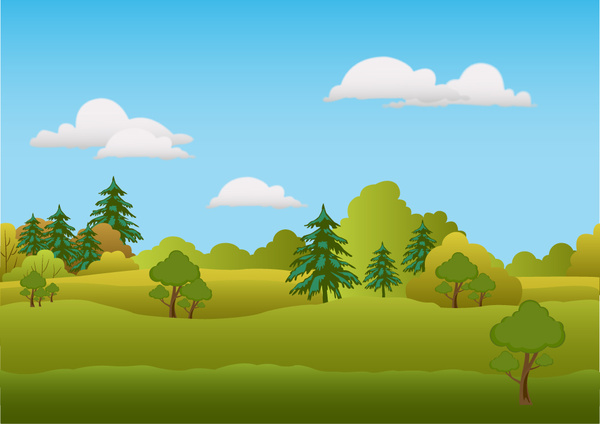 600x424 Spring Scenery Vector Illustration With Trees On Hill Free Vector