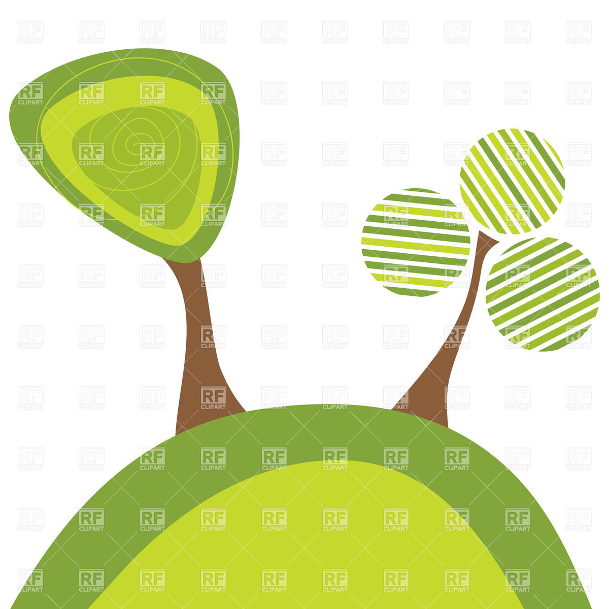 1200x1200 Stylized Green Tree On Hill Vector Image Vector Artwork Of