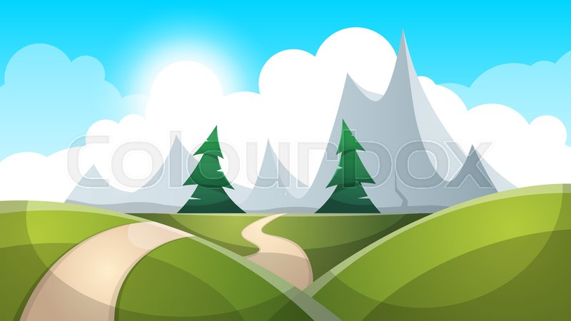 800x450 Cartoon Landscape Illustration. Sun. Road, Cloud Hill Vector Eps