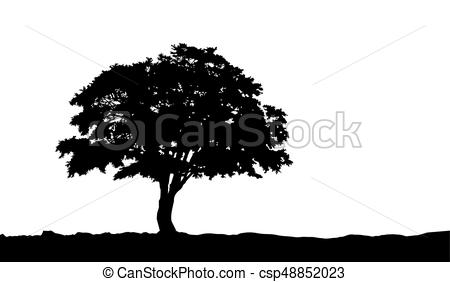 450x282 Tree On The Hill Silhouette On Vector. Tree On The Hill Silhouette