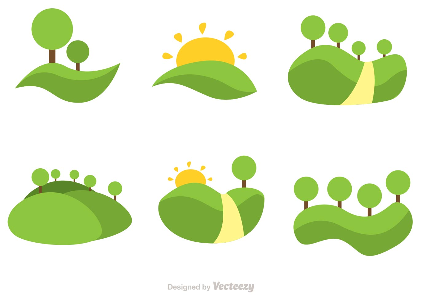 1400x980 Vector Rolling Hills Flat Icons