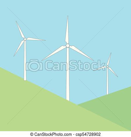 450x470 Windmills On The Hill Vector Illustration.