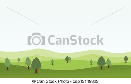 450x290 Flat Design Nature Landscape With Hill Vector Illustration.