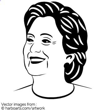 335x355 Download Smiling Hillary Clinton Stencil